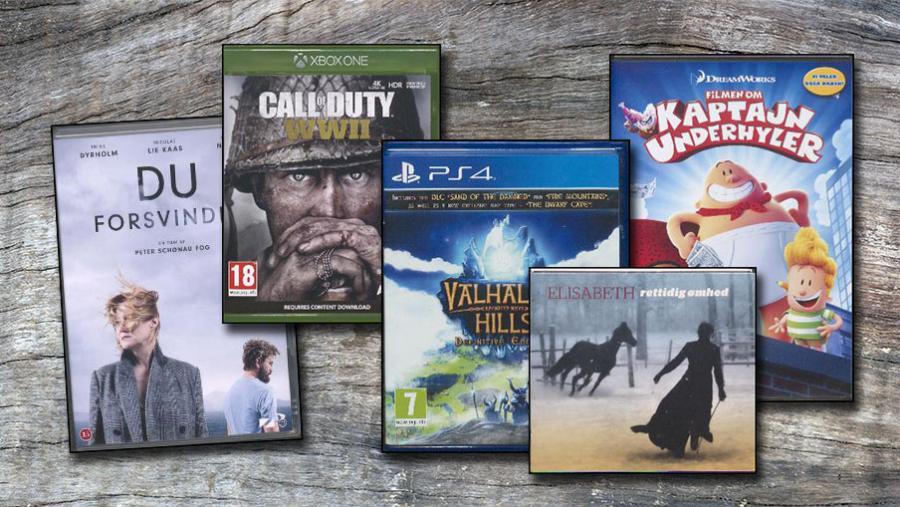 Et udvalg af film og spil.